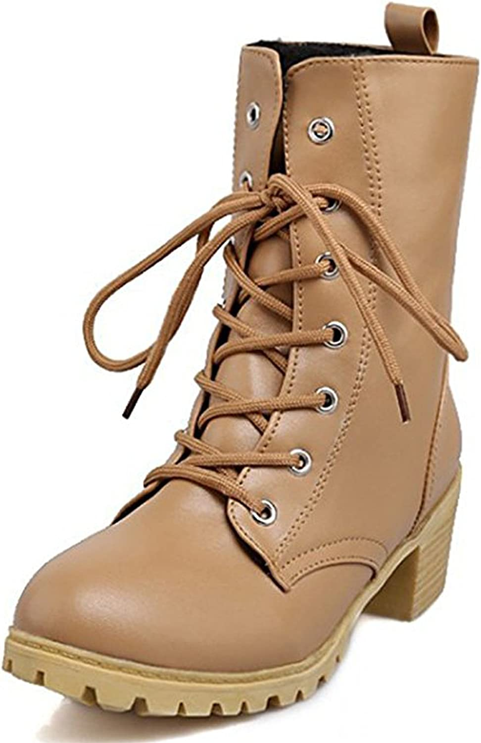 Seoia Womens Dressy Studded Mid Heels Chunky Pointed Toe Short Boots Motor Booties 0619E