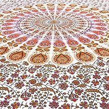 EYES OF INDIA - Twin White Orange Elephant Hippie Mandala Tapestry Hanging Picnic Bohemian Boho
