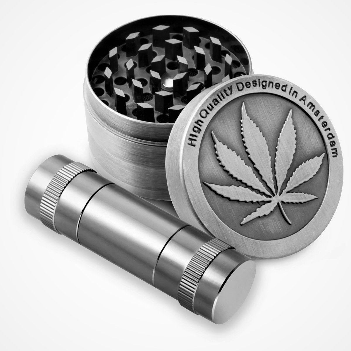 KW Collection Zinc Alloy Herb Grinder 50 mm 4 Piece with Free Pollen Presser and Pollen Catcher with Leaf Designed on Top Part (50mm with a pollen presser, Gray)