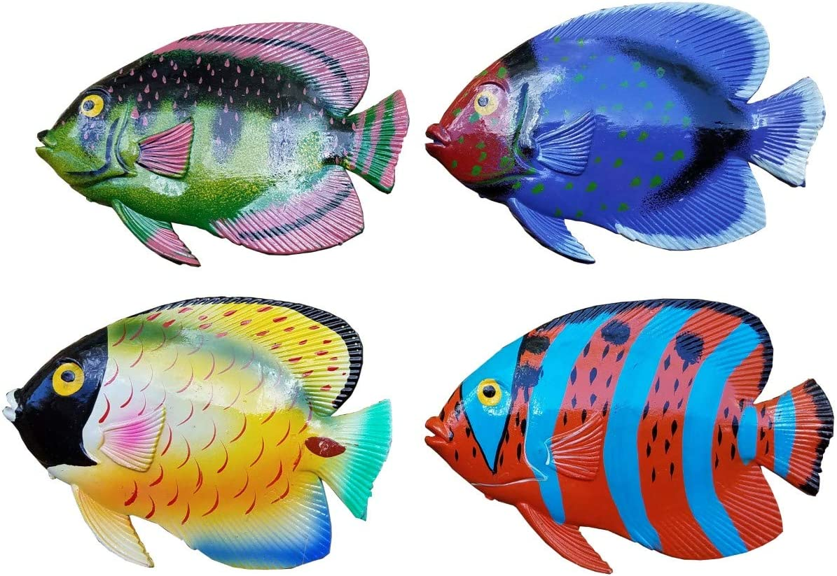 Vibrant & Exotic Set of (4) Decorative Tropical Wall Decor Hanging Fish