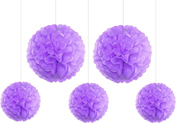 EinsSein 5er Mix Pom Poms 3X Medium (25cm) 2X Large (35cm) Flieder Hochzeit Wedding Pompons Dekokugel