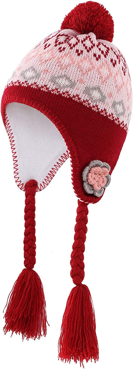 Magracy Toddler Earflap Beanie Hat Kids Girls Winter Fleece Lining Knit Hat