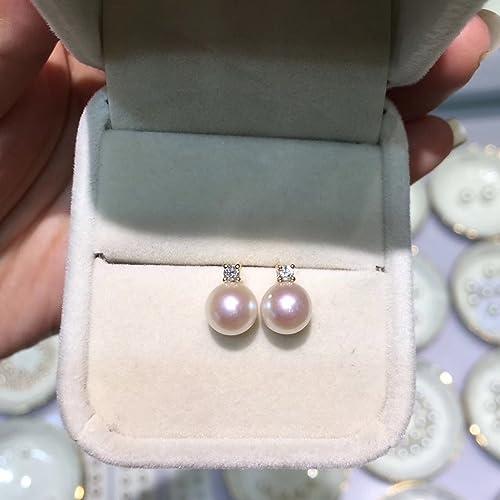 2c6411a89 Amazon.com: 18K Yellow Gold Akoya Pearl Diamonds Earrings Studs Round Pearl  Stud Earrings Seawater Saltwater Japanese Akoya Pearls 7-8mm: Handmade