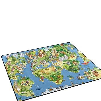 Alaza area rug 53x4kids funny world map and sightseeing non slip alaza area rug 53quotx4kids funny world map and sightseeing non gumiabroncs Images