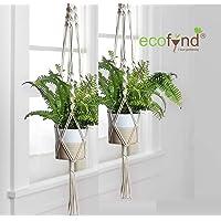 ecofynd® Macrame Indoor Plant Hanger [Without Pot] | Cotton Rope Flower Pot Holder for Indoor Outdoor Balcony Garden Wall | Home Décor Basket Hanger, Set of 3