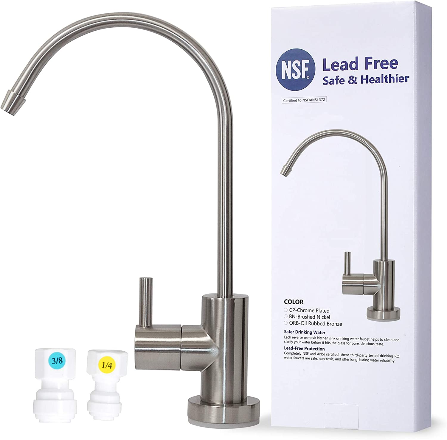 Details about  /Elegant Drinking Water Faucet for filters or RO Brushed Nickel Hydro-Genics