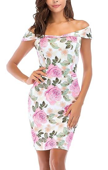 Vestidos De Fiesta Cortos Mujer Verano Elegantes Sin Hombro Ropa Dama Moderno Flores Estampado Apretados Bodycon Vestidos Vestido Coctel Moda Bonita: ...
