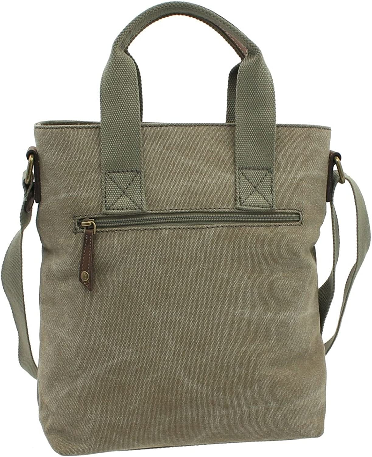 CACTUS Canvas and Distressed Oiled Leather Grab/Cross Body Bag CL811_81 Khaki