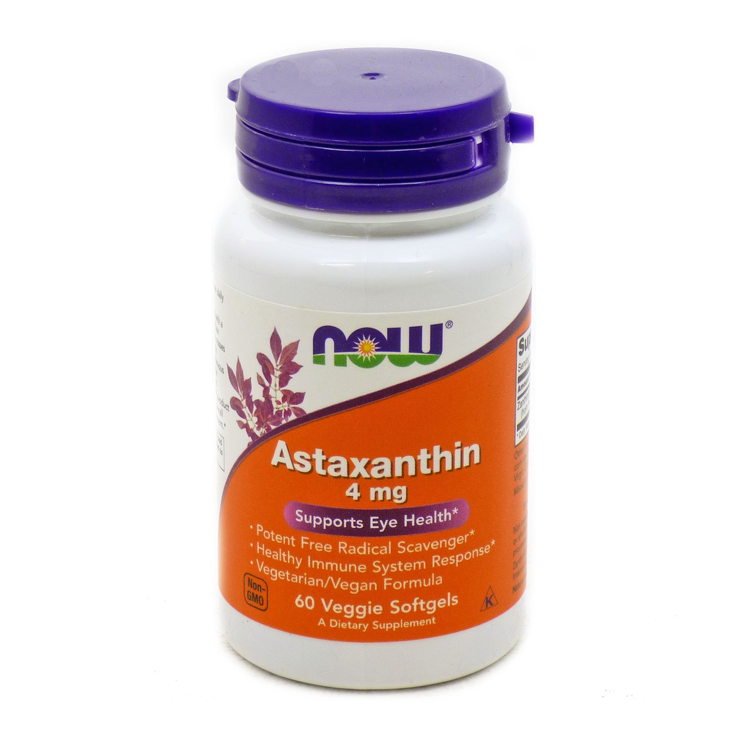 Bundle – 2 Items : 1 bottle of Astaxanthin 4 Mg By Now Foods - 60 Softgels and 1 VDC Pill Box