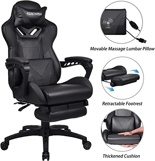 Computer Racing Gaming Sports Lift Chair Executive Recliner Faux Leather Black