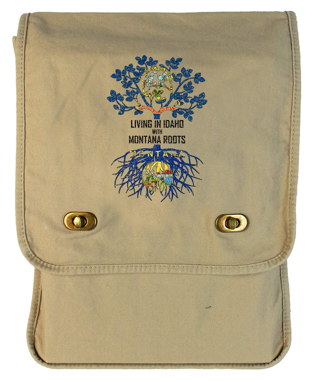 Tenacitee Living In Idaho with Montana Roots Grey Brushed Canvas Messenger Bag