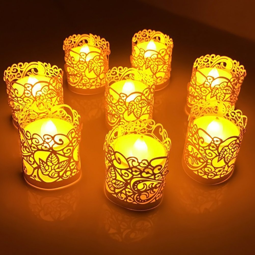 LoveInUSA 48PCS Silver Reflection Tea Light Votive Laser Cut Decorative Wraps Paper Candle Holder for LED Battery Tealight Candles for Valentines Day Birthday Wedding Decoration