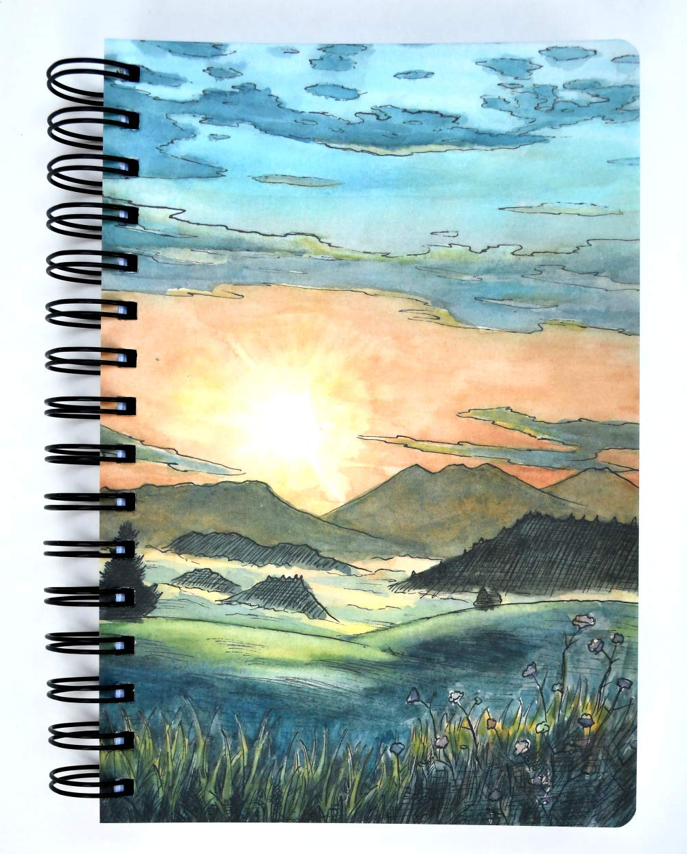 Sunrise Spiral Diary Notebook Planner by SohoSpark, Writing Journal, Designer Cover, 366 Lined Pages, Lays Flat