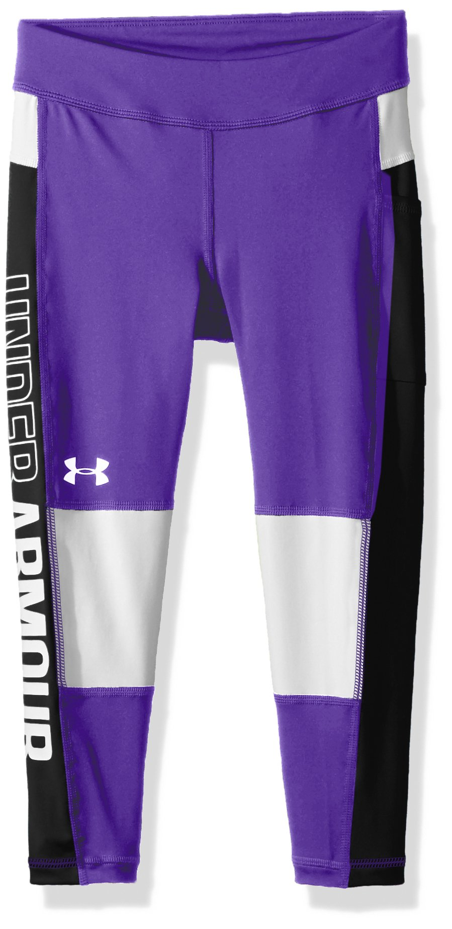 Under Armour Girls' Color Block Crop Capris, Constellation Purple /White, Youth X-Small