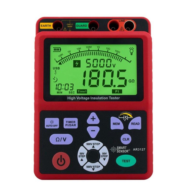 Digital high voltage insulation resistance tester 5000V shake table electronic table 0.0-99.9G ohm resistor AR3127