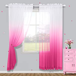 Pink Sheer Curtains for Girls Bedroom Curtains 63 Inch Length 2 Panels Ombre Short Pink Christmas Curtains for Girls Room Decor Little Kids Baby Nursery Toddler Teen Closet Xmas Decoration White Pink