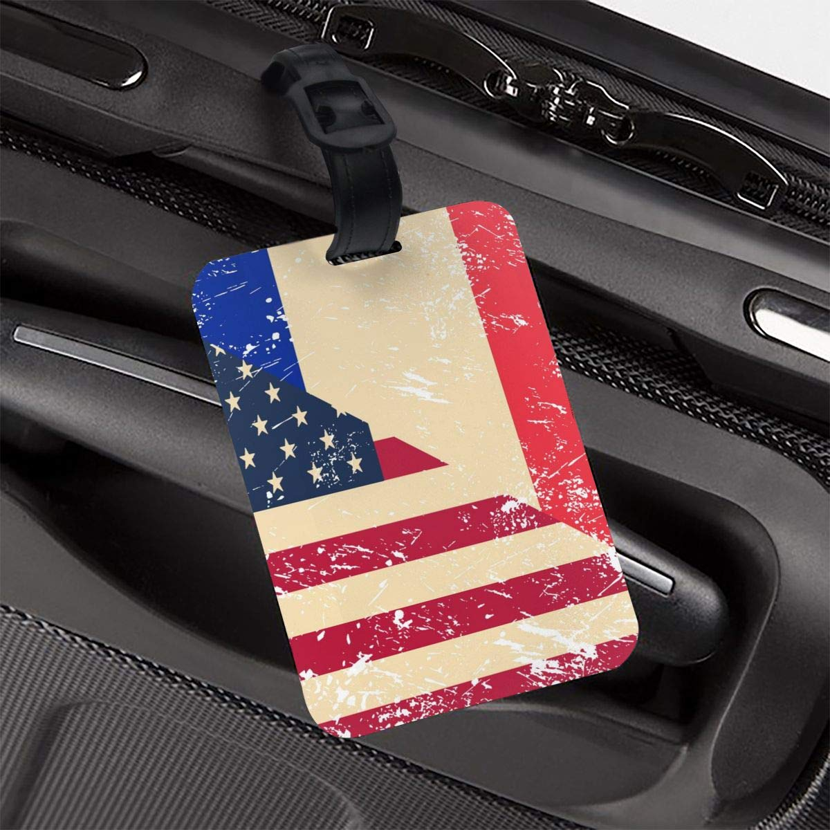 NB UUD American and France Retro Flag Travel Luggage Tag Cool Employees Card Luggage Tag Holders Travel ID Identification Labels for Baggage Suitcases Bags