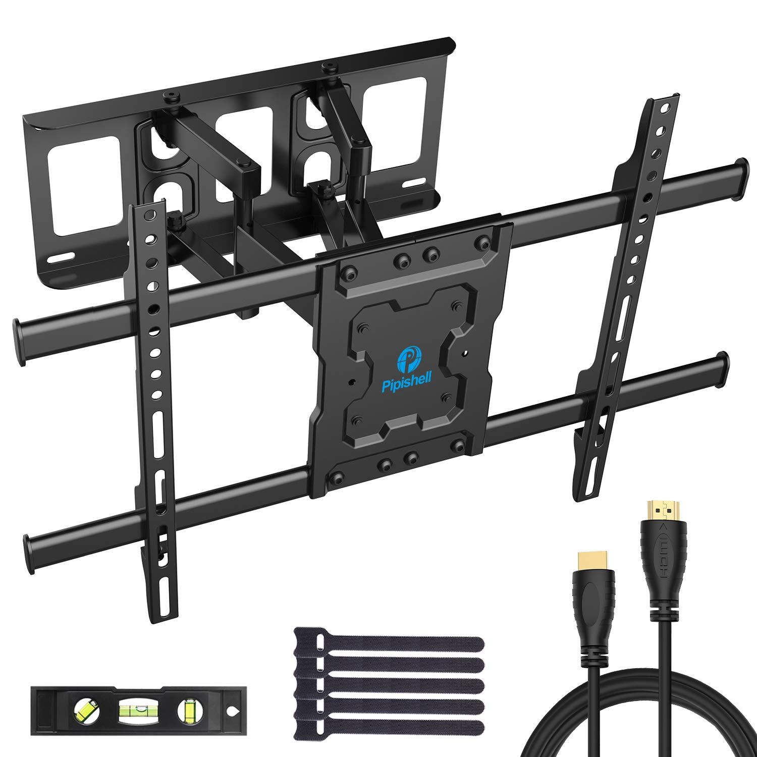 Full Motion TV Wall Mount Bracket Dual Articulating Arms Swivels Tilts Rotation for Most 37-70 Inch LED, LCD, OLED Flat&Curved TVs, Holds up to 132lbs, Max VESA 600x400mm by Pipishell by Pipishell