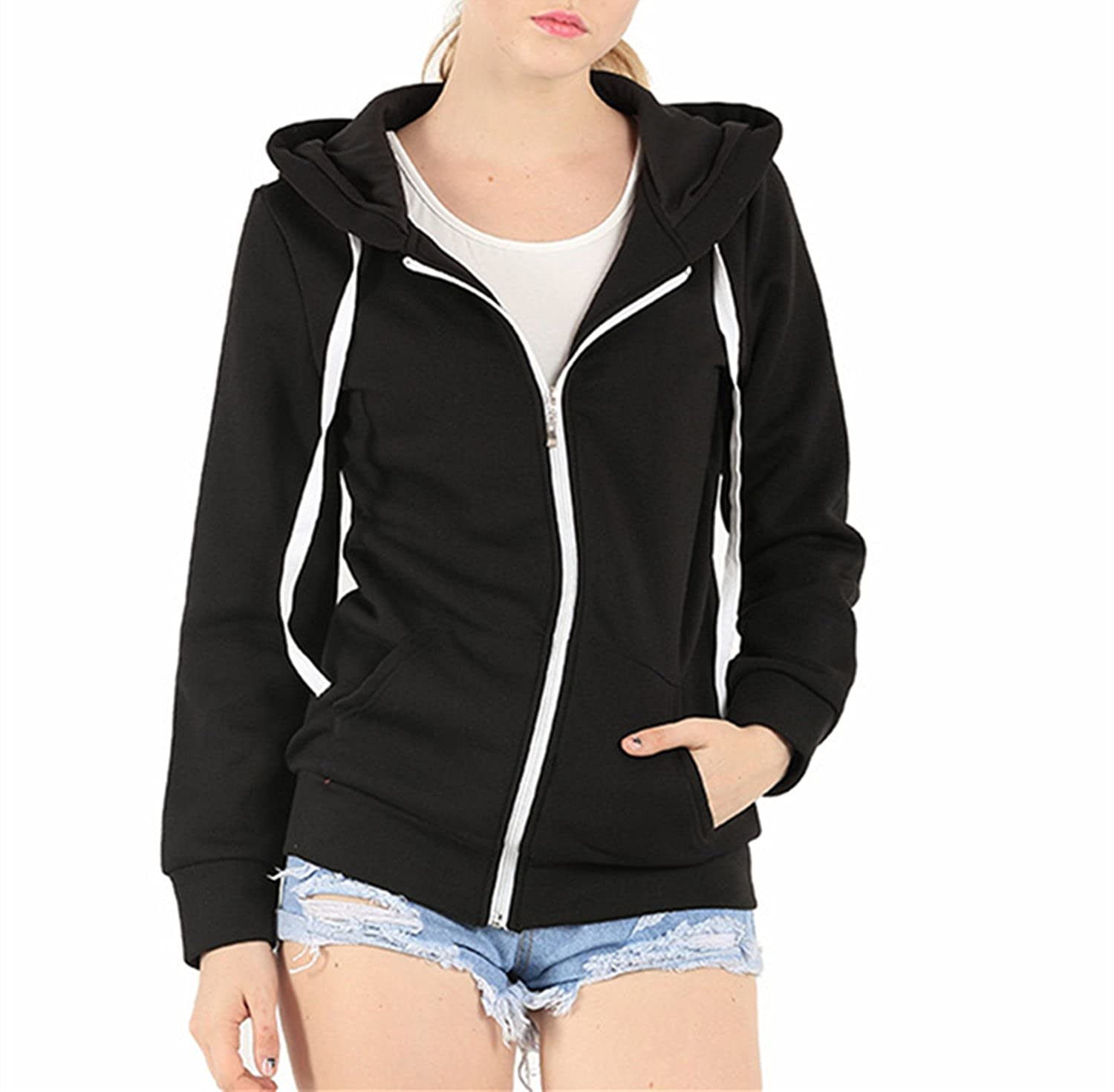 MBJ Womens Active Soft Zip Up Fleece Hoodie Sweater Jacket at ...