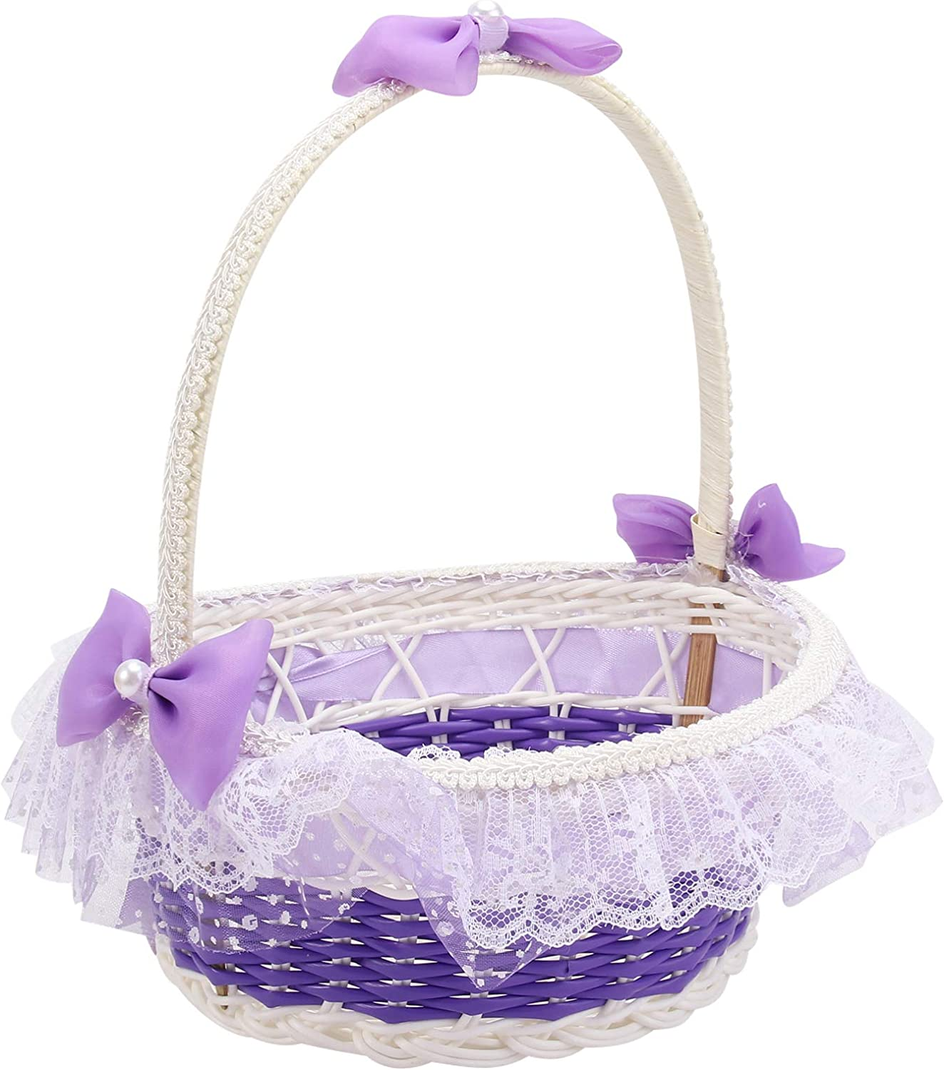 Wedding Petals Decoration Satin Silk and Lace Small Flower Girl Basket