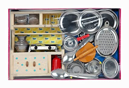 Buy Sunnytoyz Sweet Home Wooden And Steel Kitchen Toy Set For Girls