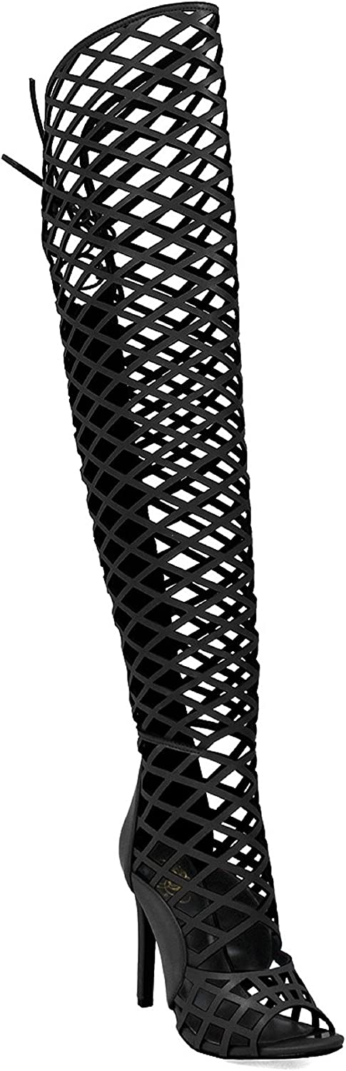 Cape Robbin Womens Elnora Peep Toe Laser Cutout Over The Knee Thigh High Back Lace Tie Boot