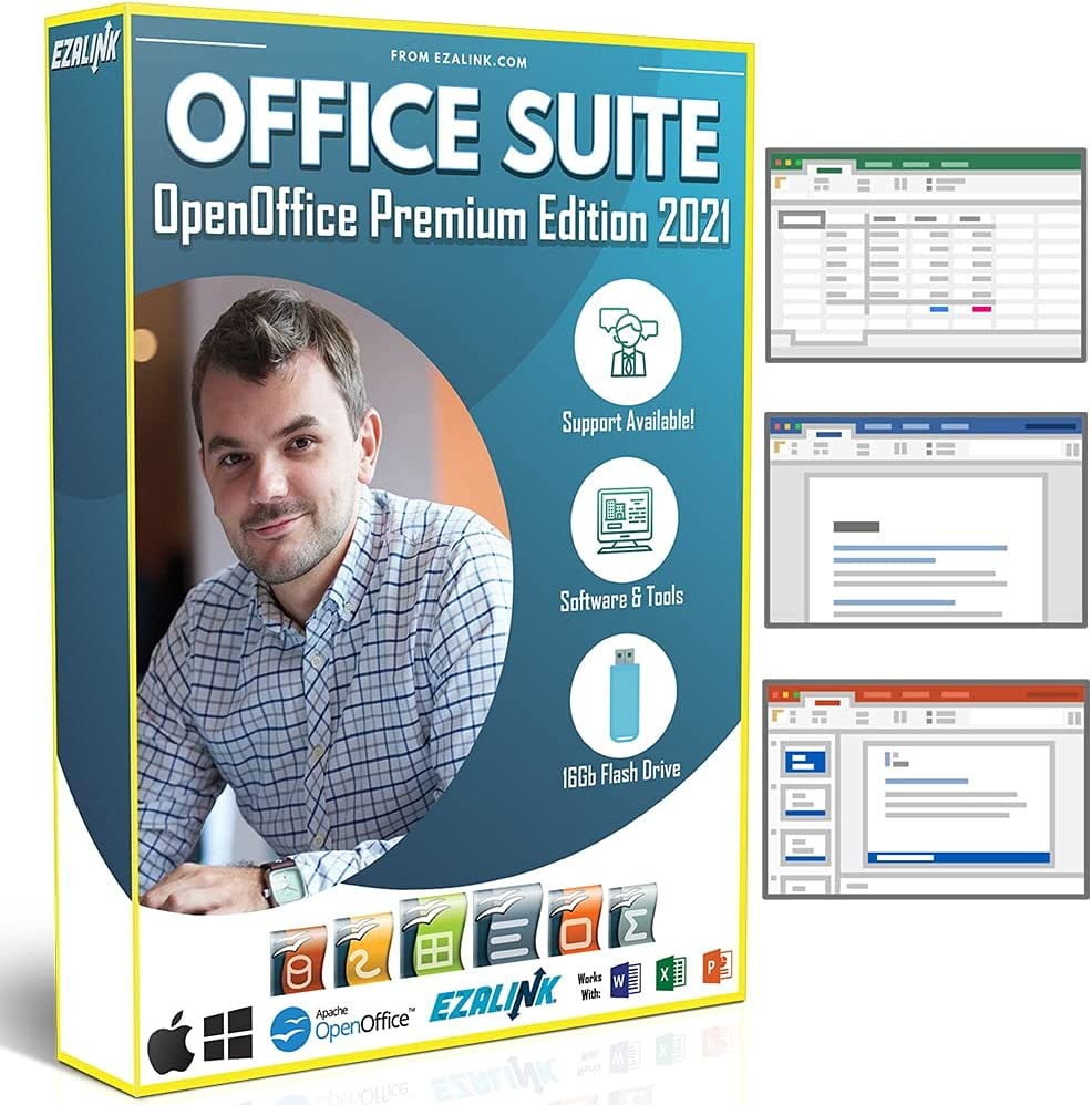 Office Suite 2021 Home & Student Premium   Open Word Processor, Spreadsheet, Presentation and Professional Software for Mac & Windows 10 / 8 / 7