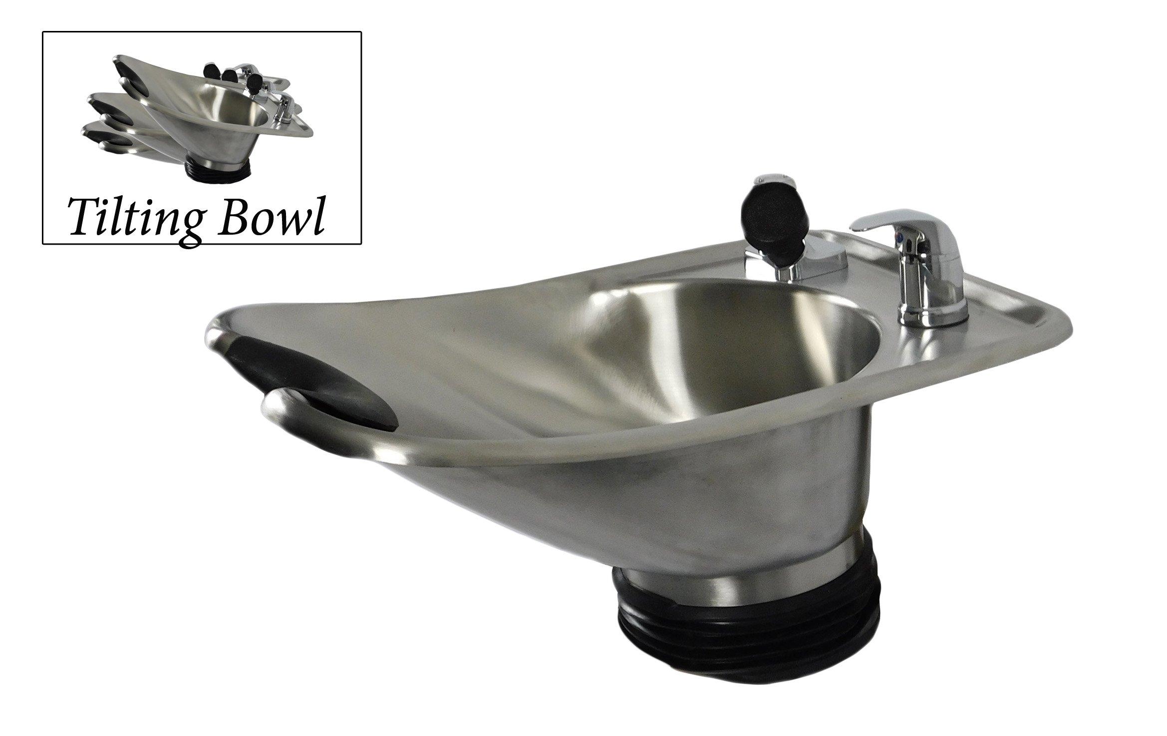 Beauty Salon Shampoo Brushed Stainless Steel Tilt Bowl Wall Mounted Salon Equipment TLC-1567WT