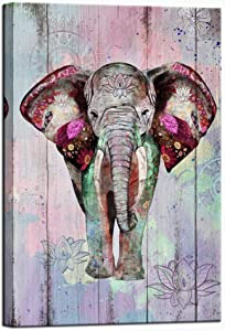 sechars Elephant Painting Wall Art Vintage Tribal Elephant with Mandala Flower Picture Poster Art Prints Boho Paisley Artwork for Home Living Room Office Stretched and Framed Ready to Hang 24x36inch
