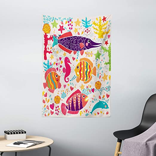 Amazon Com Ambesonne Sea Animals Tapestry Cartoon Art With Fish Seahorse Starfish Dolphin Coral Underwater Life Kids Wall Hanging For Bedroom Living Room Dorm Decor 40 X 60 Multicolor Home Kitchen