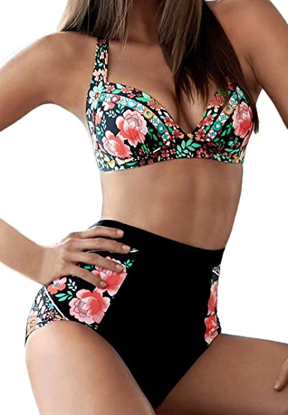 9ac38ca68a57c K Women s 2 Piece Swimsuits Floral Print Halter High Waisted Bikini Sets