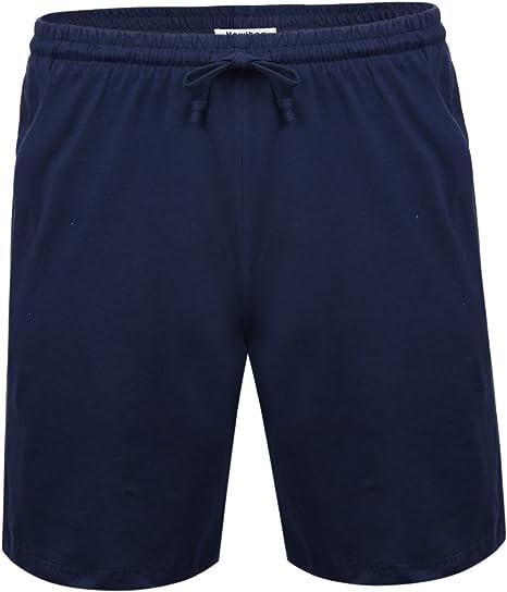 Aibrou Pantalon Pijama Corto Hombre Salón Pantalones Cortos Elástico Verano de 100% Algodon, Pack 1&2: Amazon.es: Ropa y accesorios