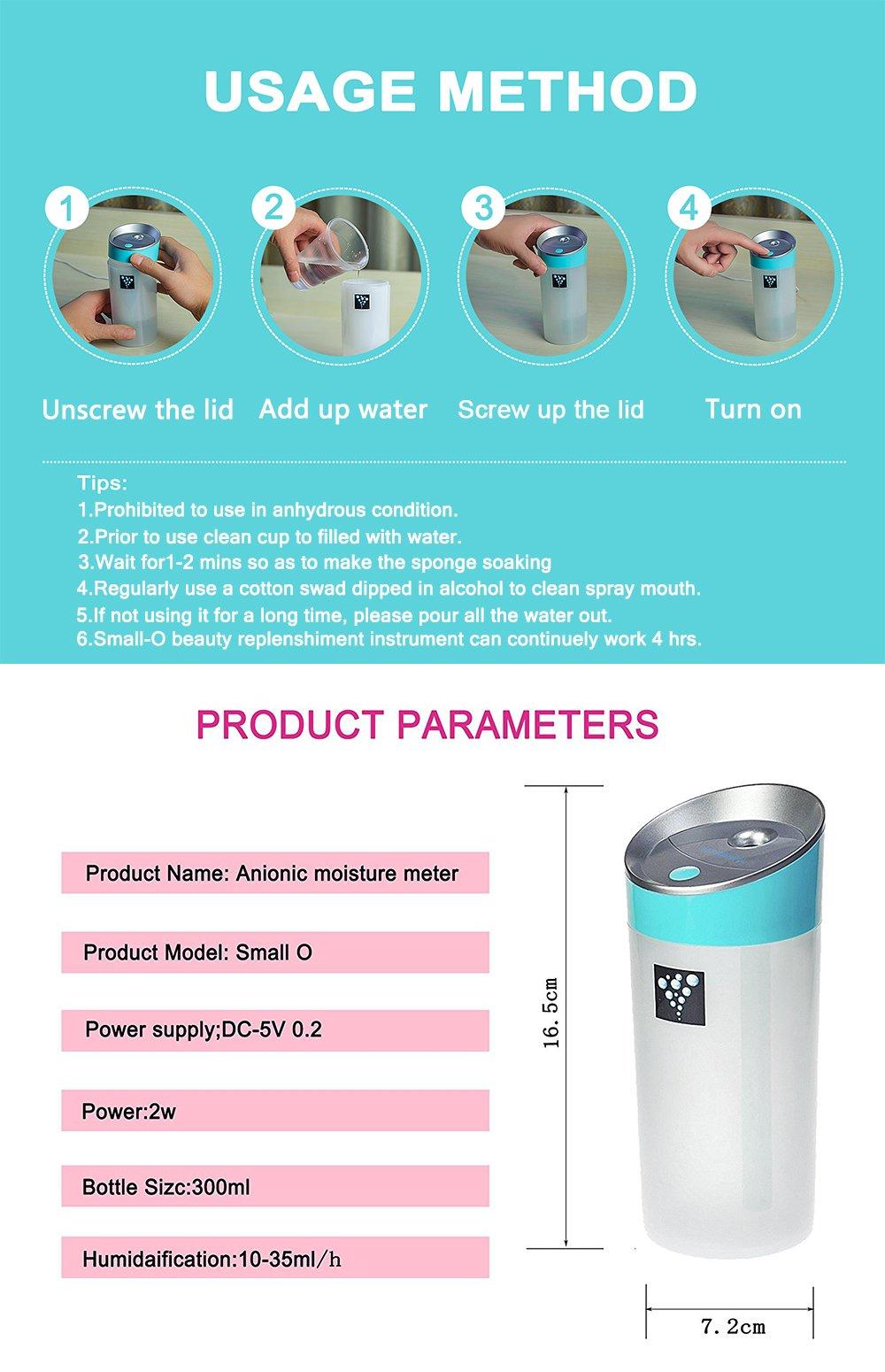 Air Humidifier Ainingshi 300ML USB Mist Ultrasonic Humidifier Mist Maker Portable Adjustable Mist Mode for Office Car Home Study Yoga Spa (Blue) by Ainingshi (Image #6)