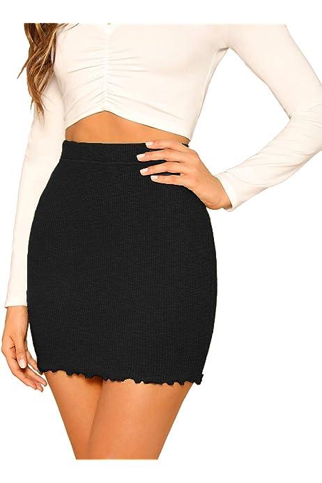 Mini Skirt Black Spandex Stretch Party Club Womens Bodycon High Waist Ladies XS1
