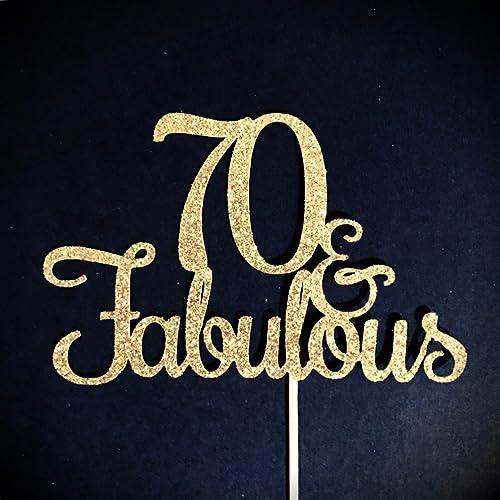 Amazoncom 70 and Fabulous Cake Topper Glitter Cake Topper
