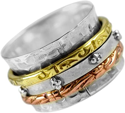 925 Sterling Silver Wide Band Meditation Spin Spinner Ring Jewelry Fidget Ring