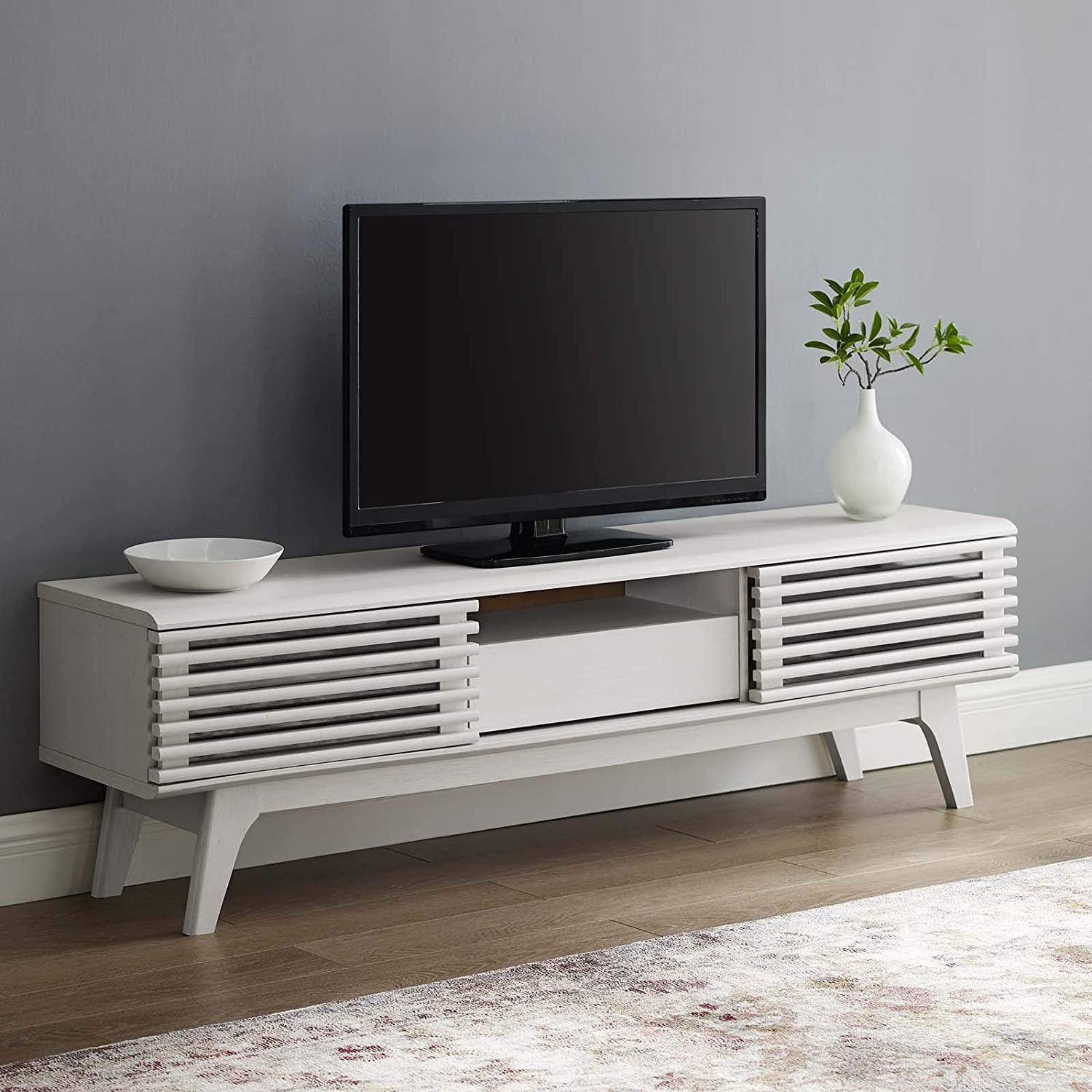 Modway Render Mid-Century Modern Low Profile 59 Inch TV Stand in White