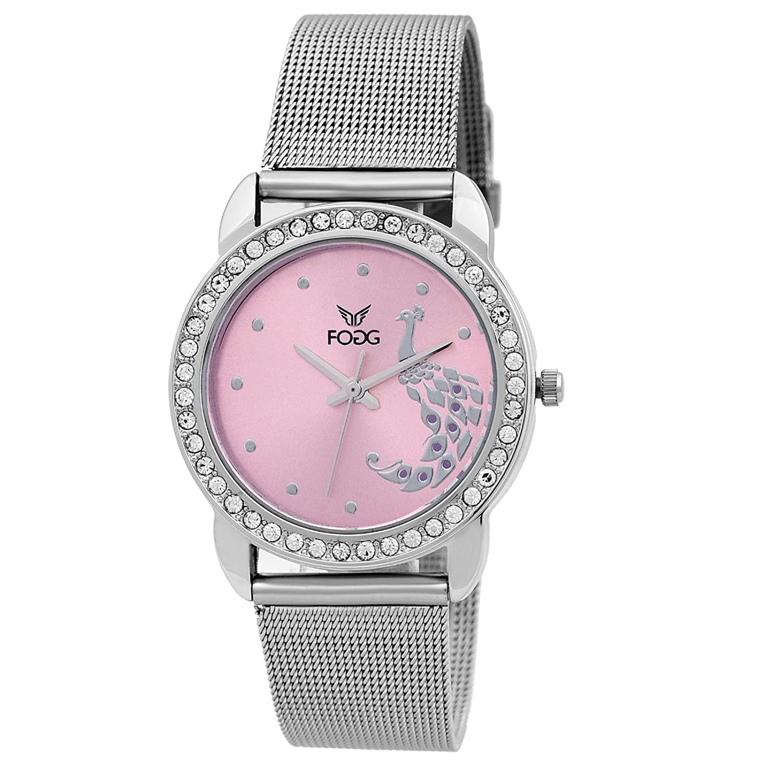 women pink darkpink inspired s p watch guess strap silver silicone dark watches tone tropical womens silvertone