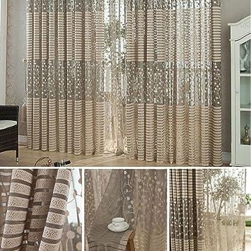 cortinas de lino hojas de cortinas de la sala