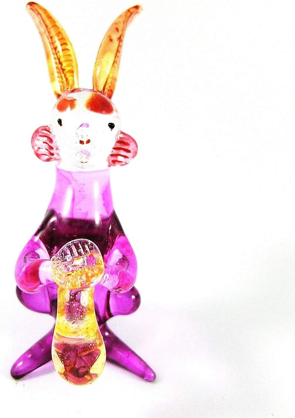 Spk Art Handmade Craft Blown Glass Lampwork Pink Rabbit Figurine Glass Sculpture Home Resort Decor