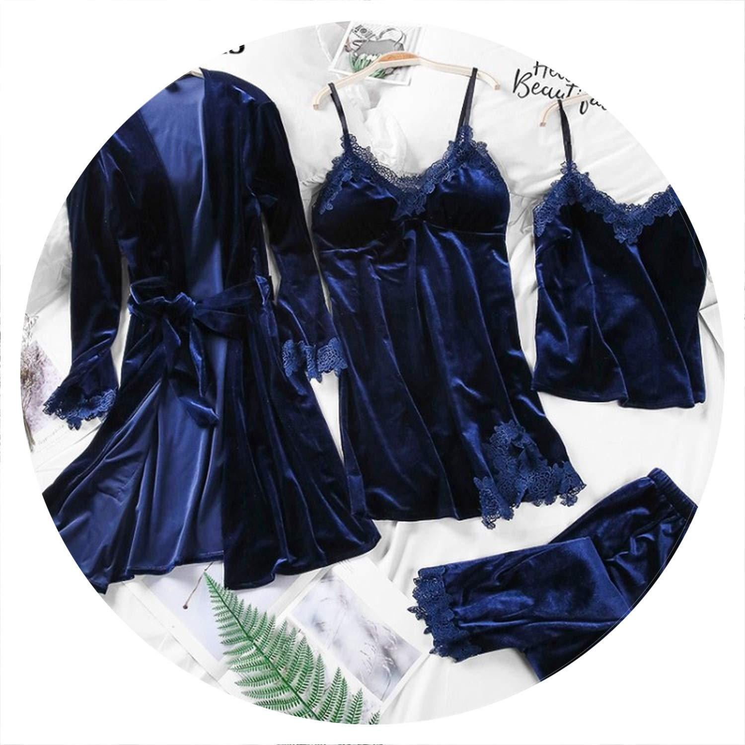 Dark bluee 100Expectations Spring Autumn Women's Pajama Set Womens Velvet Pajamas 4 Piece Sleepwear Set