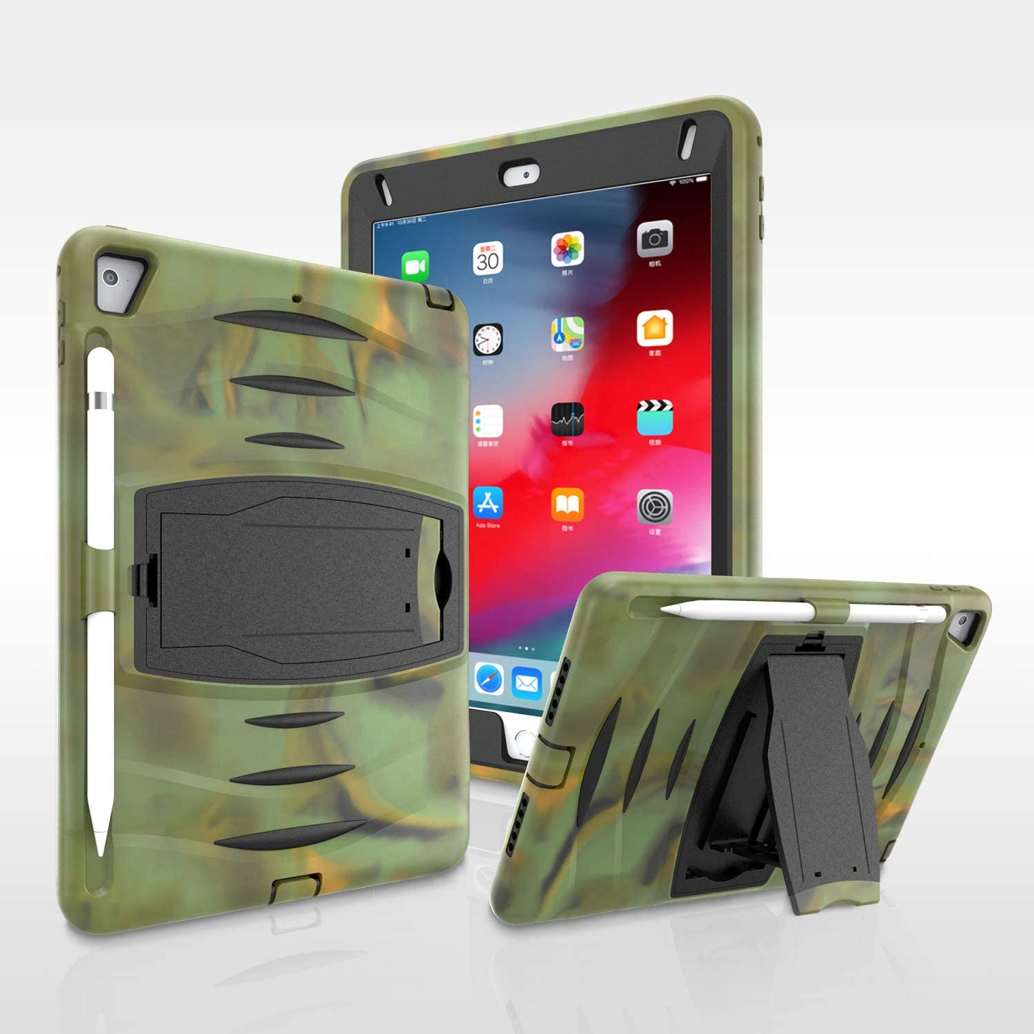 Caseitnow- iPad Pro 11 inch Case - Heavy Duty Drop Resistant Protective Case with Apple Pencil Holder and Kickstand for iPad Pro 11 inch (Camouflage)