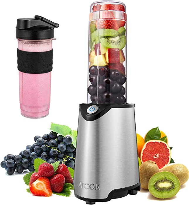 Portable Personal Blender, Smoothie Blender Maker Mixer Food Processor Mini Countertop Blender for Shakes and Smoothies with 21oz BPA-Free Travel Blender Bottle and Lid, Stainless Steel, 300W, AICOK