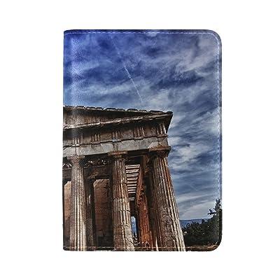 City Athens Parthenon Landmark Leather Passport Holder Cover Case Travel One Pocket