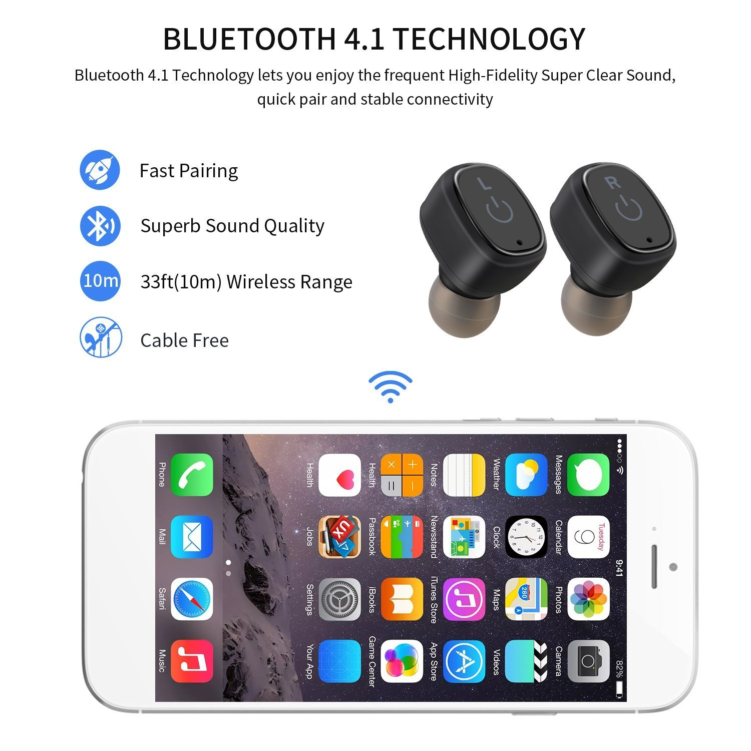 LESHP S2 Mini Auriculares Inalámbricos Bluetooth 4.2 Impermeable IP67 con Estación de Carga 850 mAh Auriculares Deportivos In-ear Ideal para Iphone (Negro): ...