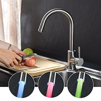 KINSE® C Form 360° Schwenkbar Edelstahl Küchenarmatur Mit 3 Farbwechsel LED  Litch Einhebelmischer