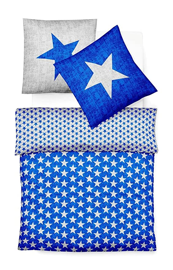 Fleuresse Biber Bettwäsche Davos Sterne Blau 135x200 Cm 133587 22
