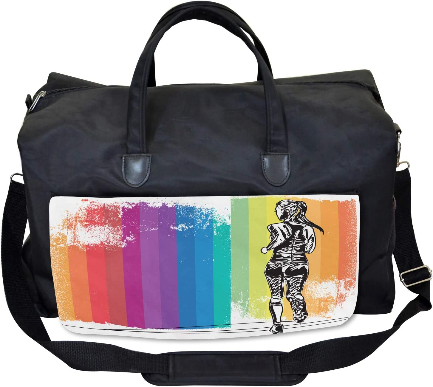 Large Weekender Carry-on Marathon Runner Ombre Ambesonne Colorful Gym Bag