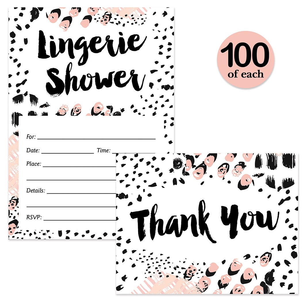 Lingerie Shower Invites ( 100 ) & Thank You Notes ( 100 ) Matching Set with Envelopes Girls Night Out Fun Bachelorette Party Lively Fill-in Guest Invitations & Folded Thank You Cards Best Value Pair