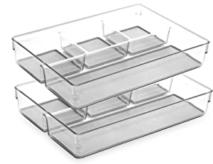BINO Multi-Purpose 4 Section Plastic Drawer Organizer - 2 Pack, Light Grey - Plastic Storage Organizer for Home, Kitchen, Bath, Bedroom, and Office